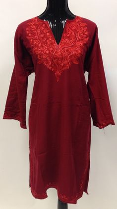 Kashmiri Embroidered Long Wool Phiran - Red