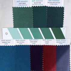 Winter Colors, Summer Colors, Soft Summer Color Palette, Purple Wisteria, Seasonal Color Analysis, Color Me Beautiful, Deep Winter, Draped Fabric, Season Colors