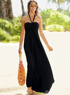 VS Maxi Bra Top Dress // good to waddle around in this summer haha Beach Dresses, Cute Dresses, Summer Dresses, Summer Maxi, Summer Wear, Black Maxi, Black Sundress, Dress Black, Victoria Dress