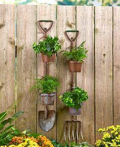 Garden fork and shovel make attractive plant holders.