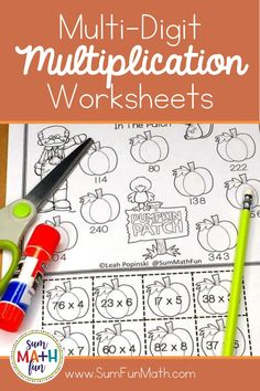 Do your 3rd grade, 4th grade, or 5th grade students need more multi-digit multiplication practice? Try these FREE worksheets that are more engaging than a standard worksheet. They are cut and glue with a pumpkin theme! Even big kids love cut and glue worksheets! Multi Digit Multiplication, Multiplication Worksheets, Free Worksheets, Fun Math Activities, Math Resources, Math Games, Fifth Grade, Elementary Math, Anchor Charts