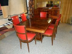 Original French Art Deco Modernist Dining Suite 1930's | From a unique collection of antique and modern dining room sets at http://www.1stdibs.com/furniture/tables/dining-room-sets/