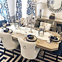 home accessories Kitchen dining rooms - Stonefort Tufted Velvet Upholstered Dining Chair Dining Room Blue, Dining Room Table Decor, Elegant Dining Room, Luxury Dining Room, Decoration Table, Dining Room Design, Navy Blue Dining Chairs, Dinning Room Ideas, Decorations