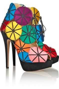 Charlotte Olympia Charlotte Olympia Parasol embroidered satin and suede platform sandals