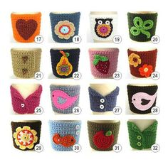 Crochet Coasters Garland Bunting Pattern Bowls Placemats Birdhouses, Wedding and Nursery Decoration. Attractive crochet items to your Sweet HomeMJM Crafts: Nueva colección - New Collection Cup Cozy❥Crochet Tea Cosies, Mug Hug Snugs and Cups Cozies Crochet Coffee Cozy, Coffee Cup Cozy, Crochet Cozy, Crochet Gifts, Crochet Garland, Bunting Pattern, Coffee Cup Sleeves, Crochet Kitchen, Beautiful Crochet