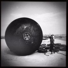 Cylindrical gas/diesel tank on the beach. #brutal #tank #fossil #lagos #beach