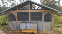 I love the rustic charm of this chook house. Old recycled iron chook house designed & built by Yummy Gardens Melbourne Chicken Shed, Chicken Coup, Chicken Life, Backyard Chicken Coops, Chicken Coop Plans, Diy Chicken Coop, Chickens Backyard, Chicken Houses, Duck Pens