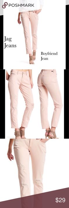 "Jag Jeans Alex Boyfriend Jean Blush Pink, Distressed Jag Jeans. Alex Boyfriend Jean. Zip fly w/ button closure, 5 pocket construction, slim leg, relaxed fit. Rise is approx. 9""  Inseam approx 29"". Jag Jeans Jeans"