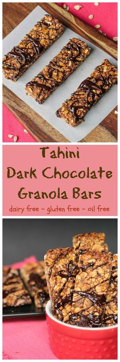 Tahini Dark Chocolate Granola Bars - These #nutfree #glutenfree chewy granola bars are high in protein, fiber and calcium and make the perfect anytime snack! Perfect for a lunchbox treat! #vegan #dairyfree #granolabars #darkchocolate #tahini #oilfree #lunchbox #healthysnack