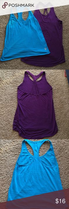 Purple Gaiam and turquoise Old Navy workout tanks. Dark purple tank with mesh inserts on back part of tank. Turquoise tank looks great with a black tank layered under. Old Navy Tops Tank Tops