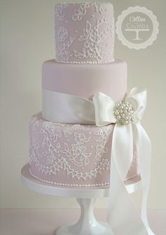 Luxury wedding cakes by cake designer Tracy James. Delivering wedding cakes accross the West Midlands. Cotton and Crumbs Cakes that taste as beautiful as they look. Bow Wedding Cakes, Beautiful Wedding Cakes, Gorgeous Cakes, Wedding Cake Designs, Pretty Cakes, Lace Wedding, Purple Wedding, Floral Wedding, Chic Wedding