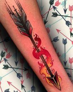Flaming Arrow Tattoo - Tattoo Thinks Simple Arrow Tattoo, Arrow Forearm Tattoo, Small Arrow Tattoos, Arrow Tattoo Design, Forearm Tattoos, Body Art Tattoos, Ankle Tattoos, Cool Tattoos, Mens Arrow Tattoo