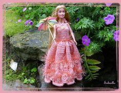 """Puppenkleidung - Barbie-Abendkleid mit """"Wellen-Muster"""" ** lachs - ein…"""