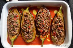 Vinete umplute cu carne tocata la cuptor karniyarik (4) Food Styling, Zucchini, Food And Drink, Hot, Ethnic Recipes, Foods, Drinks, Food, Kitchens