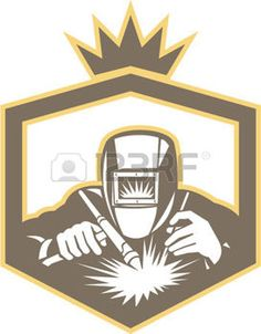 welder: Illustration of welder worker working using welding torch viewed from front set inside shield on isolated background done in retro style. Illustration
