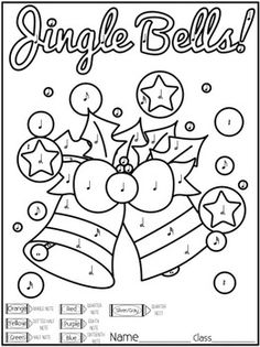 Christmas Color By Note Music Coloring Pages