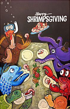 Shrimpsgiving chalkboard art at whole foods market Arlington, MA, by Elissa Surabian
