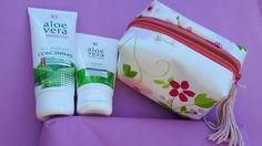 Eine von mir genähte Kosmetiktasche mit LR Produkten...passt gut zusammen :) Aloe Vera, Lunch Box, Dime Bags