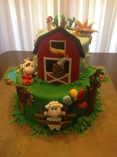 My Farm Animal Birthday Cake for a sweet 4 year old. He loves farm animals. All delicious marshmallow fondant animals with NO gum paste or toothpicks, sticks etc. everything totally edible and delicious!  What 4 year old wouldn't want to taste the little pigs mud puddle (melted Sweetened German Chocolate). Much fun thinking of things to put on this cake!