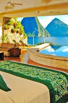 Jade Mountain Resort - St. Lucia. I've wanted to go here since I saw this exact photo in a magazine probably about 10 years ago. Gonna make it happen one day