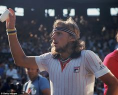 Bjorn Borg, six-time champion, is pictured at Wimbledon with plenty of colour on show in 1...