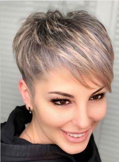 Short Hair Long Bangs, Pixie Cut With Long Bangs, Short Blonde Haircuts, Longer Pixie Haircut, Super Short Hair, Girl Haircuts, Short Hairstyles For Women, Short Hair Cuts, Short Hair Styles