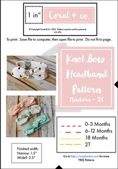 Knotted Bow Headband Pattern and Tutorial. Free Pattern made by Coral and Co. How to sew and adorable knot style bow headband made from knit fabric for baby and toddler. Sewing To Sell, Sewing For Kids, Free Sewing, Diy Baby Headbands, Knot Headband, Diy Accessoires, Baby Sewing Projects, Sewing Tutorials, Sewing Ideas