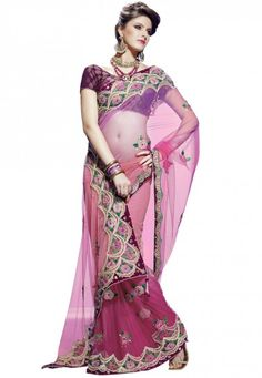 """Shaded Pink Net Designer Saree Designed with Resham, bead, stone, sequence, patch, dangler  INR:-7770 Only (With Discount 25% !! Use Coupon Code """"FLAT 25″ To Avail The Discount)"""