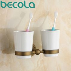 Delicieux Antique Brass Toothbrush Cup Holder European Simple Retro Gargle Cup Holder  Bathroom Double Cup Holder Gz
