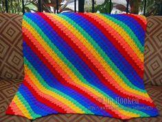 Corner To Corner Afghan in Rainbow Colors