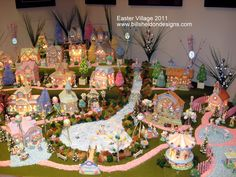 Easter Village w/Dept 56 houses displayed w/great detail