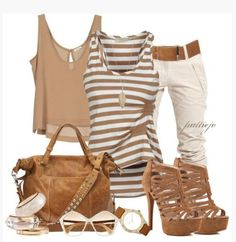 shoes top shirt tank top stripes striped top gathered top walnut brown crop tops key hole back loose fit bag purse heels high heels stilettos pumps multi strap heels pants khaki pants watch sunglasses bangle bracelets clothes outfit blouse