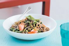Salmon and soba noodles recipe, Bite – This Japaneseinspired dinner will also make a nutritious and delicious packed lunch tomorrow - Eat Well (formerly Bite) Shellfish Recipes, Seafood Recipes, Asian Recipes, Ethnic Recipes, Quick Easy Dinner, Soba Noodles, Cooking Salmon, Noodle Recipes, Fish And Seafood