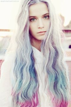 Long textured hair in ombre colors