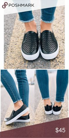 The Lara Slip On Sneaker A little sneaker to take you all around town in class! These have darling little cut out slits across the top of the faux-leather style flat! Fits true to size Shoes Sneakers