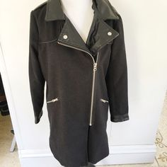 SALE! Miss London Pleather Collar Coat Size M. It is too small for me. There is one scratch on the pleather, a hole on the collar, and some lint pilling (see photos) Super chic and cute! Jackets & Coats
