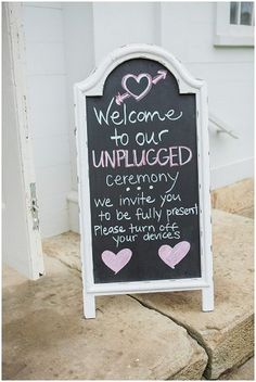 "Chalkboard ""unplugged"" sign 