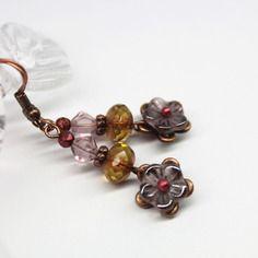 """Boucles d'oreilles poétiques """"fleurs boréales""""  - perles de bohême, cuivre pur et métal cuivre rouge -"""
