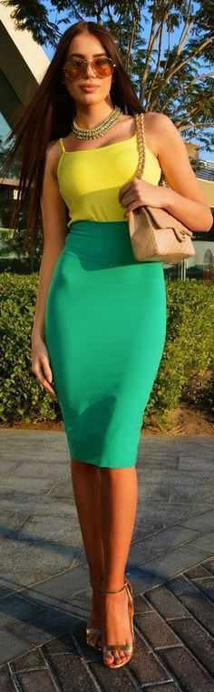 Green And Yellow Chic Style by Laura Badura Fashion