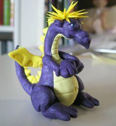 polymer clay purple dragon