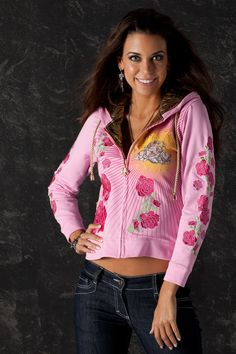 Triumph of Archangel Roses Embroideries Women by CharlesKingParis Rock Outfits, Sporty Outfits, Trendy Outfits, Angel Outfit, Unique Hoodies, Embroidered Jacket, Sporty Chic, Trendy Clothes For Women