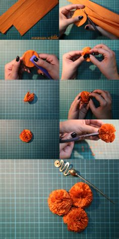 Our very own Indian Marigold DIY craft indian diy crepe paper marigolds Eлена Дик craft crepe DIY Eлена Indian Marigold marigolds Paper Дик is part of Mehndi decor - Diwali Decorations At Home, Festival Decorations, Flower Decorations, Bollywood Party Decorations, Crepe Paper Decorations, Wedding Decorations, Diwali Diy, Diwali Craft, Paper Flowers Diy