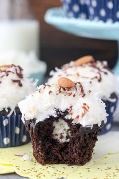 Almond Joy Cupcakes have a rich coconut filling, just like an Almond Joy bar. If you love coconut, these are for you! #cupcakes #chocolate