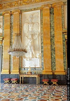 The Room of Mars in Caserta Royal Palace, Campania, Italy.