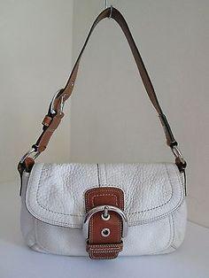 COACH Pebbled Leather Soho Flap Shoulder Bag Ivory Tan Trim Style 13105