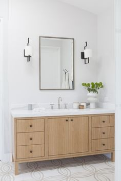 contemporary wood vanity, patterned tile floor