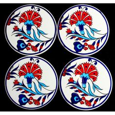 Set of 4 Hand Painted Ceramic Coasters 10 Cm - Turkish The L.- Set of 4 Hand Painted Ceramic Coasters 10 Cm – Turkish The Light Set of 4 Hand Painted Ceramic Coasters 10 Cm – Turkish The Light - Pottery Painting Designs, Paint Designs, Ceramic Coasters, Party Tableware, Hand Painted Ceramics, Ceramic Painting, Polymer Clay, Plates, Kitchenware