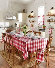 Buffalo Check Tablecloth, Cocina Shabby Chic, Modern Shabby Chic, Shabby Chic Kitchen Decor, Red Kitchen Decor, Kitchen Linens, Red Farmhouse, Old Farmhouse Kitchen, Shabby Chic Farmhouse