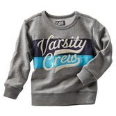 With varsity embroidery and inset stripes, this French terry pullover is perfect for your t-ball, kickball or basketball guy.