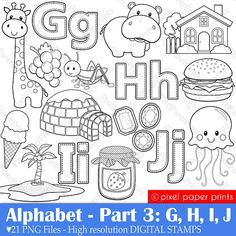 Alphabet Digital Stamps Part 3 - GHIJ clip art - School clipart